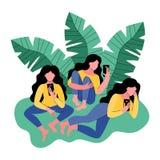Trzy kobiety używają smartphone również zwrócić corel ilustracji wektora ilustracja wektor