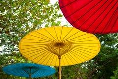 Trzy kolorów parasol Fotografia Stock