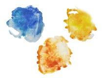 Trzy kolor, kolor żółty, pomarańcze i błękitna pluśnięcie akwareli ręka, bolą ilustracja wektor