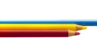 Trzy kolor kredki Zdjęcie Royalty Free
