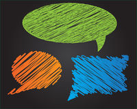 Trzy kolorowego doodle stylu mowy wektorowego bąbla ilustracja wektor