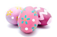 Trzy kolorowego handmade Easter jajka odizolowywającego Obraz Royalty Free