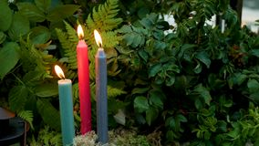 Trzy kolorowej świeczki pali w lesie zbiory wideo
