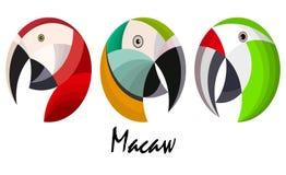 Trzy kolorowej ary papuzi ` s przewodzi, wektorowa ilustracja ilustracji