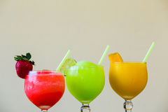 Trzy koloru Margarita napoju dodatku specjalnego Zdjęcie Stock