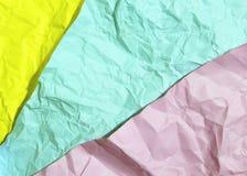Trzy koloru marszcząca papierowa tło tekstura Obraz Stock