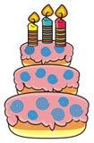 Trzy kondygnacj tort z świeczkami Obraz Stock
