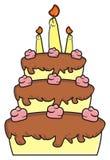 Trzy kondygnacj tort z świeczkami Fotografia Royalty Free