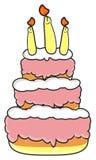 Trzy kondygnacj tort z świeczkami Zdjęcie Royalty Free