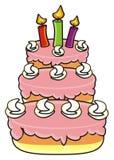 Trzy kondygnacj tort z świeczkami Fotografia Stock