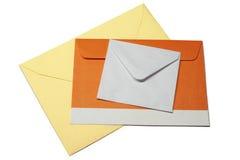 Trzy koperty na białym tle, odizolowywającym Zdjęcie Royalty Free