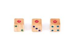 Trzy kostka do gry drewniany przedstawienie jeden punkt twarz Zdjęcie Stock