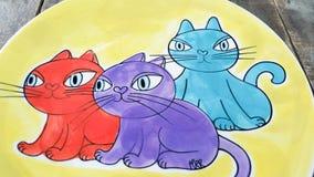 Trzy kota troszkę Fotografia Stock