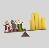 Trzy królewiątek Magiczna równowaga 3d ilustracja wektor