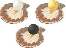 Trzy kreskówki błyszczącej perły Fotografia Royalty Free