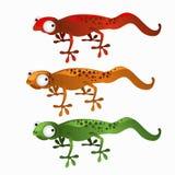 Trzy kreskówki jaszczurki czerwień, zieleń i pomarańcze, ilustracja wektor