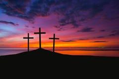 Trzy krzyża na wzgórzu Fotografia Royalty Free
