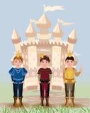 Trzy książe i bajki mały kasztel Zdjęcia Royalty Free