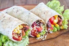 Trzy kurczaka burritos Zdjęcie Stock