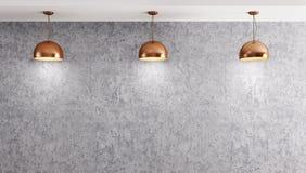 Trzy lampy nad betonowej ściany 3d renderingiem Obraz Stock