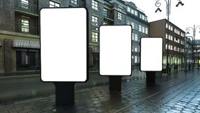 trzy lightbox na wieczór ulicie ilustracji
