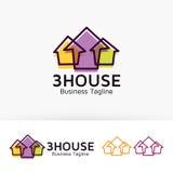 Trzy loga Domowy projekt Obrazy Stock