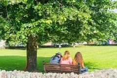 Trzy ludzie siedzi parkowej ławki widok z powrotem obrazy stock