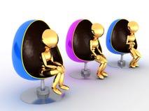Trzy ludzie siedzi w chairs-3 Obrazy Stock