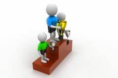 Trzy ludzie stoi z trofeum Obraz Royalty Free