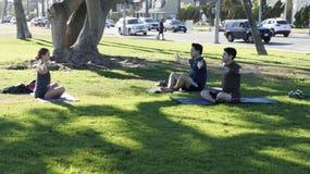 Trzy ludzie w praktyki joga Fotografia Royalty Free