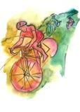 Trzy mężczyzna jechać na rowerze na górze ilustracja wektor