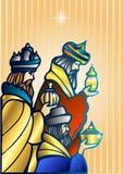 Trzy mędrzec odwiedzają jezus chrystus po Jego narodziny royalty ilustracja