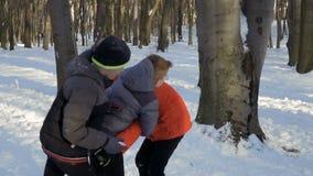 Trzy młodszego brata walczy z each inny w zima parku zbiory