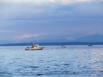 Trzy małej łodzi rybackiej trolling dla łososia na wybrzeżu Va zdjęcie royalty free