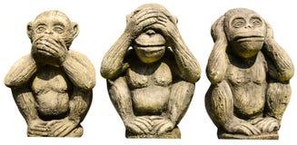 Trzy małpy statuy Obrazy Stock