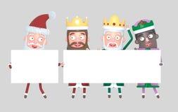 Trzy Magicznego królewiątka i Święty Mikołaj trzyma plakat z powitaniami odosobniony ilustracja 3 d royalty ilustracja