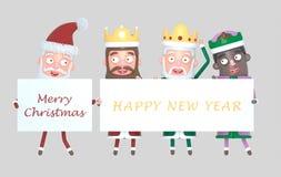 Trzy Magicznego królewiątka i Święty Mikołaj trzyma plakat z powitaniami odosobniony ilustracja 3 d ilustracji