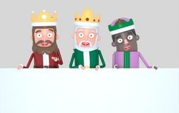 Trzy Magicznego królewiątka trzyma Białego plakat odosobniony ilustracja 3 d ilustracji