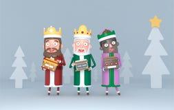 Trzy Magicznego królewiątka trzyma plakat z powitaniami ilustracja 3 d ilustracja wektor