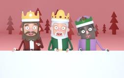 Trzy magicznego królewiątka trzymający dużych białych plakaty w czerwieni forest3d ilustracji ilustracji