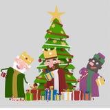 Trzy Magicznej choinki i królewiątka 3d ilustracji