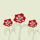 Trzy makowy kwiat z skutkiem nafciane farby Obrazy Royalty Free