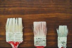 Trzy malują muśnięcia Zdjęcia Royalty Free