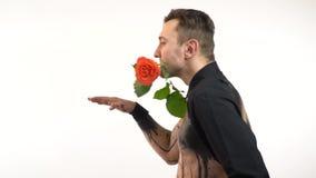 Trzy mięśniowy spychacz z różami w zębach tanczy przeciw białemu tłu zbiory