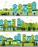 Trzy miasta życia sceny Zdjęcie Stock