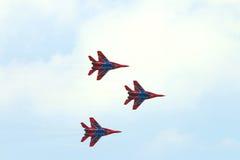 Trzy Mig 29 myśliwa latają Obraz Stock