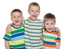 Trzy mody roześmianej chłopiec zdjęcia royalty free