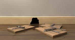 Trzy Mousetraps Na zewnątrz dziury Zdjęcie Royalty Free