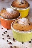 Trzy muffins z lodowacenie cukierem Fotografia Royalty Free
