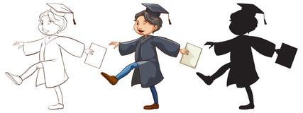 Trzy nakreślenia chłopiec kończyć studia ilustracja wektor